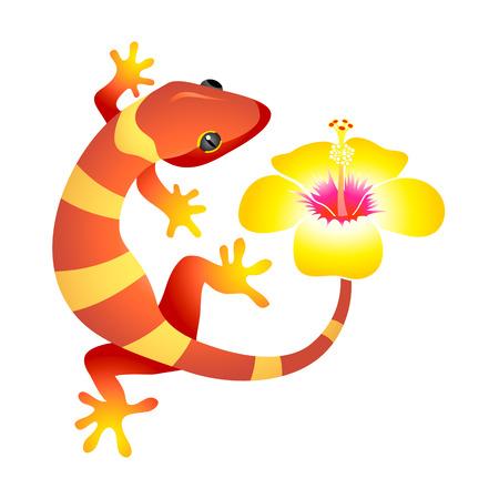 Little gecko leopardo con flor de hibisco, como símbolo de spa