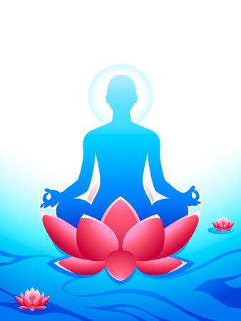 Yoga meditatie op de heilige lotus zee van de hemel