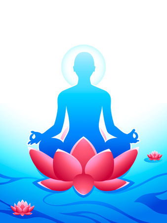 Yoga meditation at the sacred lotus sea of heaven Vector