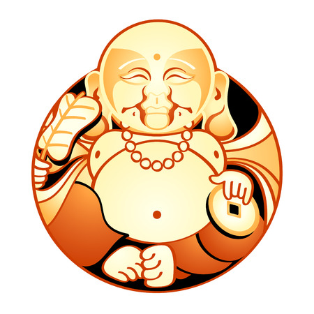 Hotei, Lucky Japan God of Contentment & Happiness Vector