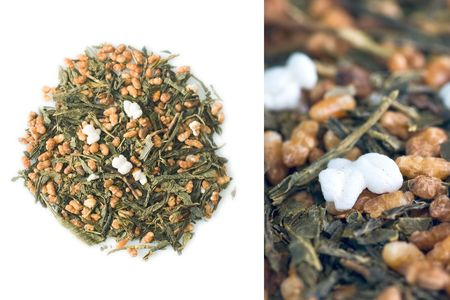 Japanese green Genmaicha (tea leaves with roasted brown rice and popcorn) tea photo