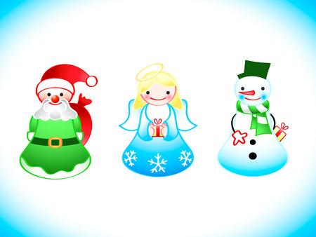 christmas cute: Christmas cute ornaments - Santa, Angel, Snowman with gifts