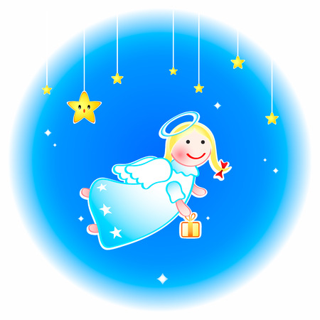 Christmas angel with special gift at New Year eve Stock Vector - 5845269