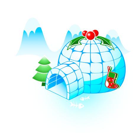 Christmas igloo with holly berries, gift socks and fir-tree Vector