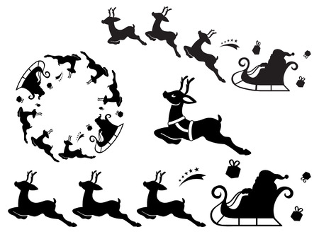 Santa Claus sleigh silhouette ornament. Useful as vector brush Vector