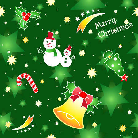 Christmas seamless green pattern with traditional decorative elements Vector