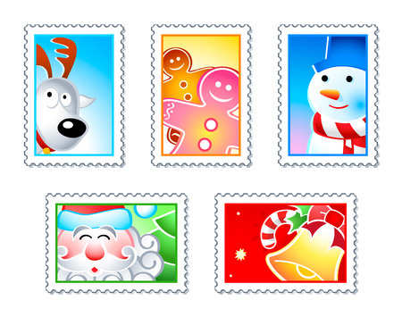 Christmas stamps with Rudolf, Santa, Snowman, Gingerman and bell Vector