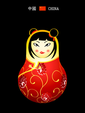 Matryoshkas of the World: chinese girl in qipao dress Vector