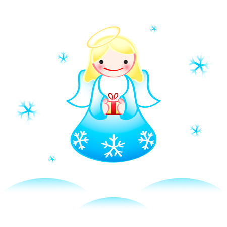 Flying Christmas angel with dancing snowflakes Vector