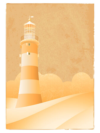 Vintage lighthouse greeting card Vector