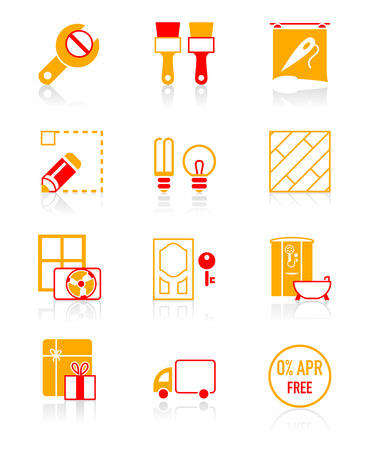 Home repair, remodelling, redecoration and shop services icon-set Vector