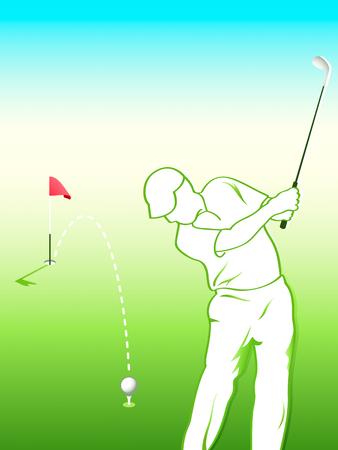 lanzamiento de bala: Listo para la final golpe� el disparo de golfista.  Vectores