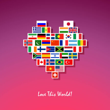 frienship: Peace heart made of different country flags Illustration