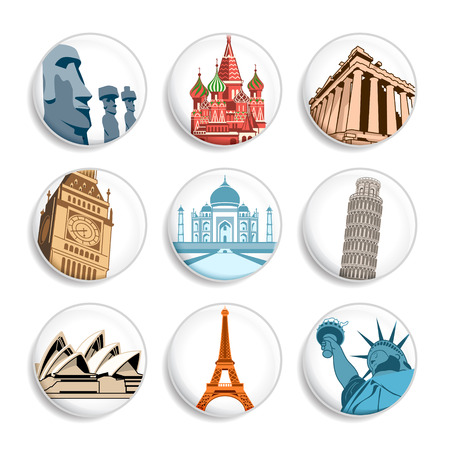 mausoleum: Badges with famous places all around world | Set 1 Illustration