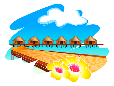 Wooden footbridge to Maldives water houses with hibiscus flowers Stock Vector - 6082804