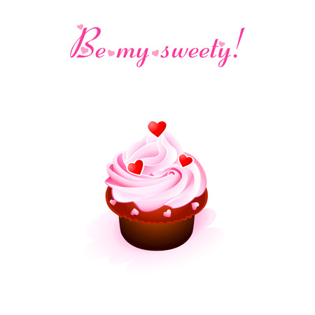 Valentine card with creamy cupcake and hearts Vector