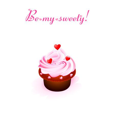 cremoso: Valentine card with creamy cupcake and hearts Ilustra��o