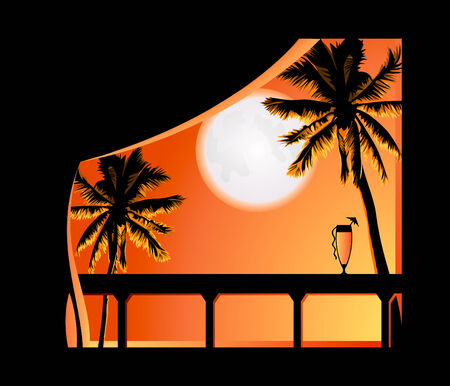 Bright tropical night view from the resort balcony Vector