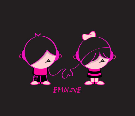 emo: Emo pair in music love isolated over black