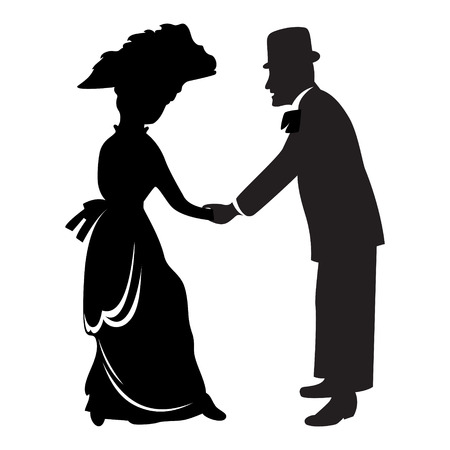caballeros: Silueta de pareja victoriana aislada sobre blanco