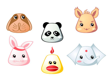 dreamland: Cute baby dog, panda, squirel, rabbit, chicken and elephant