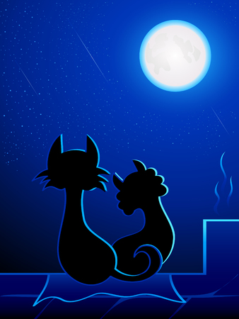 meteor shower: Cats in love on the roof under romantic moon light Illustration