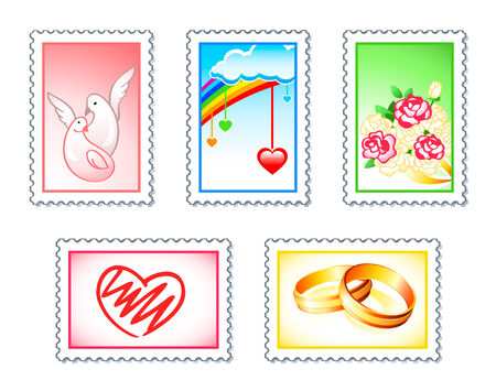 Wedding or Valentine stamps with love doves, hearts, rings and flowers Stock Vector - 6197273