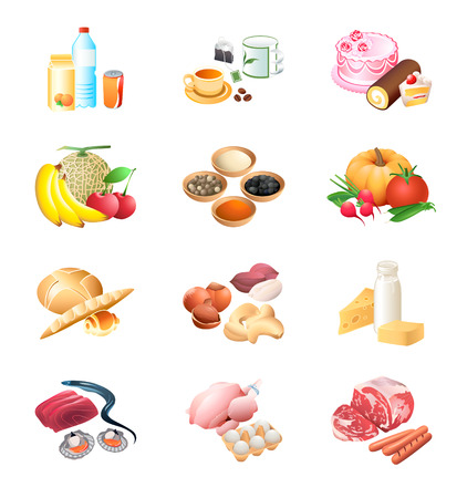 Colorful isolated raw and prepared food ingredients icon-set Stock Vector - 6236733