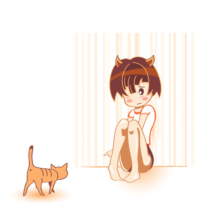Shy cat girl with brave cat in kawaii anime style