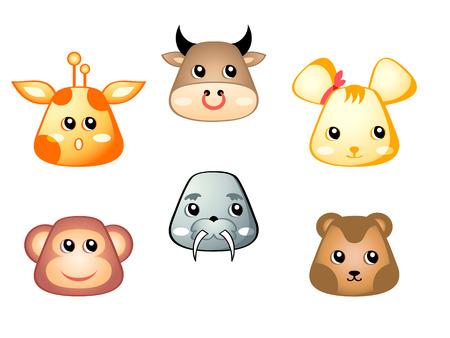 Cute baby giraffe, bull, mouse, monkey, walrus and bear Vector