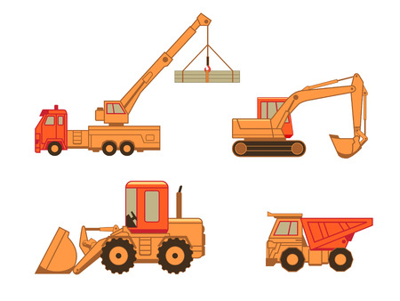 road grader: Excavator, truck, auto and wheel loader (tractor) isolated Illustration
