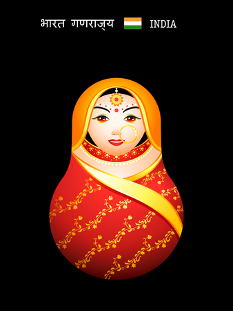 Matryoshkas of the World: indian girl in sari Vector