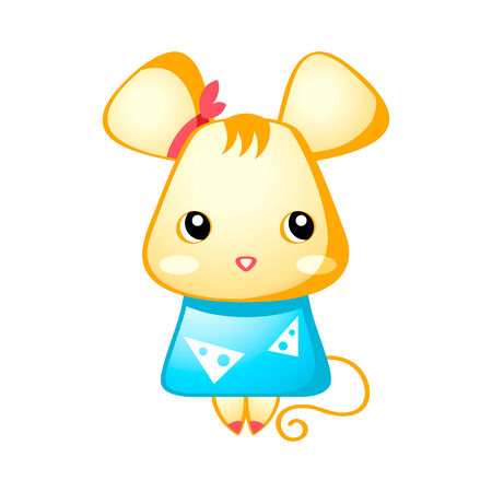 anime eyes: Cute little mouse in japanese drawing style isolated Illustration