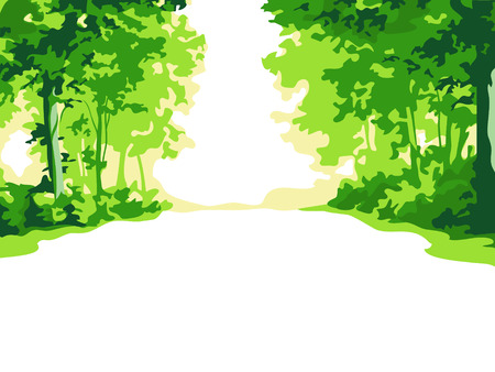 Green summer forest background Stock Vector - 6329282