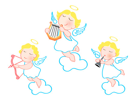 Funny cartoon angels with harp, arrow and trumpet isolated