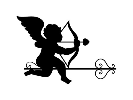 Cupidsitting on the decorated arrow Stock Vector - 6370051