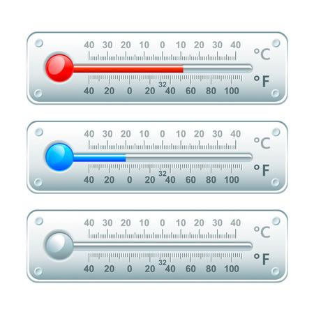 fahrenheit: Term�metros horizontales con escala de grados Celsius y Fahrenheit aislado Vectores