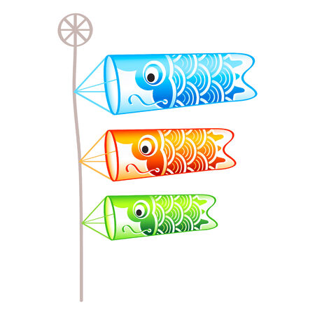 windsock: Family of japanese carp(koi)-shaped wind socks on pole isolated