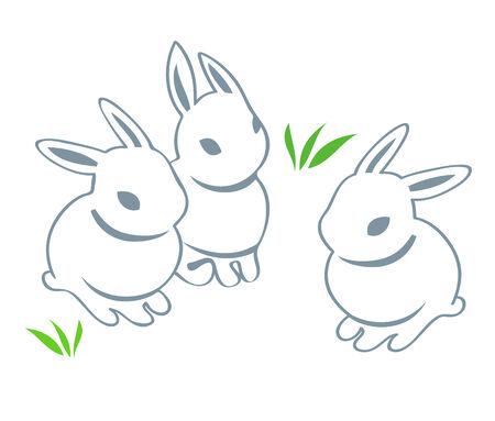 Kontur cute Easter-Kaninchen, die isoliert