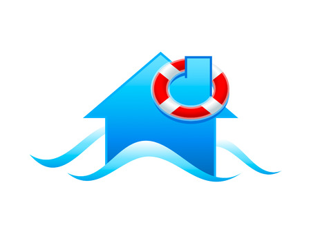 flood: House with life guard under flooding water isolated Illustration