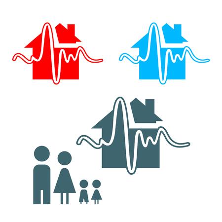homelessness: Assicurazione terremoto icona con la famiglia isolato  Vettoriali