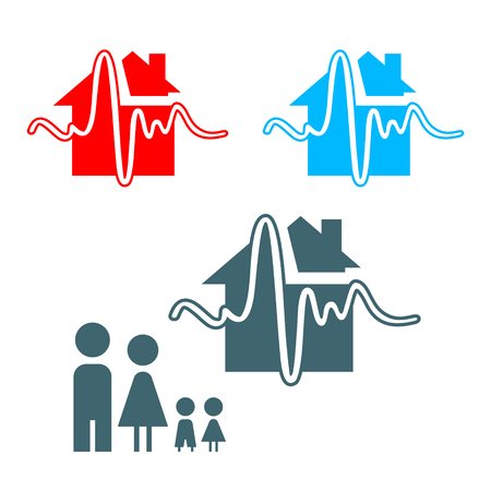 Earthquake insurance icon with family isolated Vector