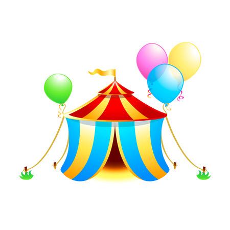 Carpa de circo con globos aislado