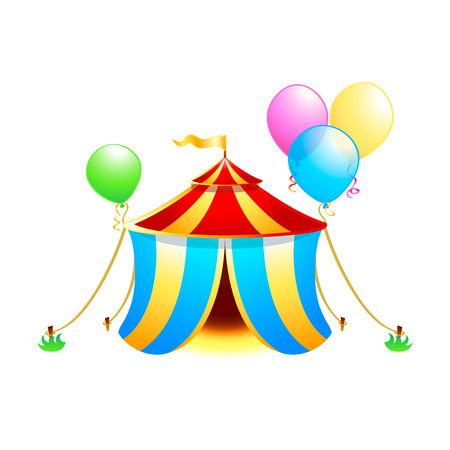 Circus tent with balloons isolated