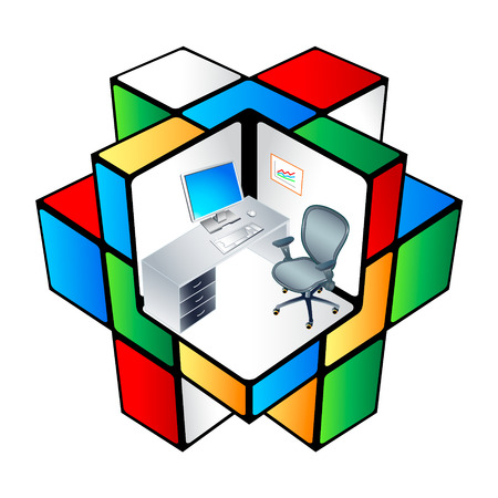office plan: The working place at colorful office cubicle matrix