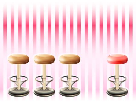 sgabelli: Sgabelli su bar con striping retr� pattern di rosa Vettoriali