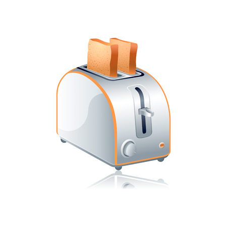 Modern toaster with bread slices isolated over white Stock Vector - 6465340