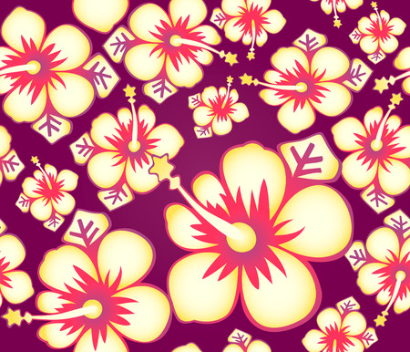 red hibiscus flower: Hibiscus flower japanese seamless pattern Illustration