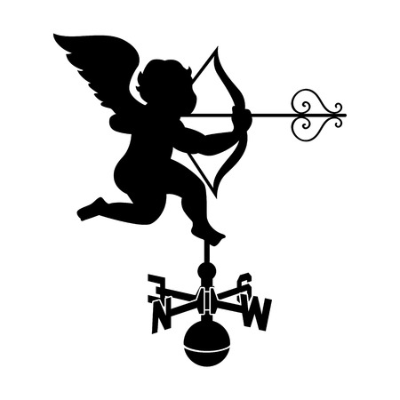 weathervane: Classic cupid weather vane with decorated arrow isolated Illustration
