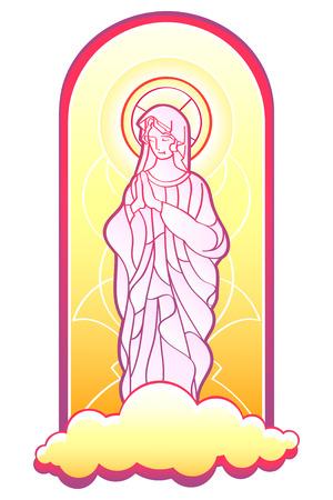 vetrate artistiche: Beata Vergine Maria nella cornice di vetrate isolato